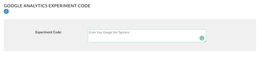 Google Analytucs experiment code