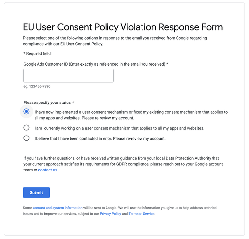 Googles EU User Consent form