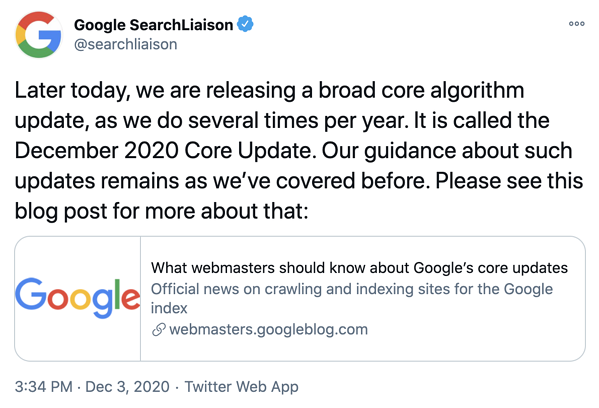 Google Twitter December 2020 Core Update