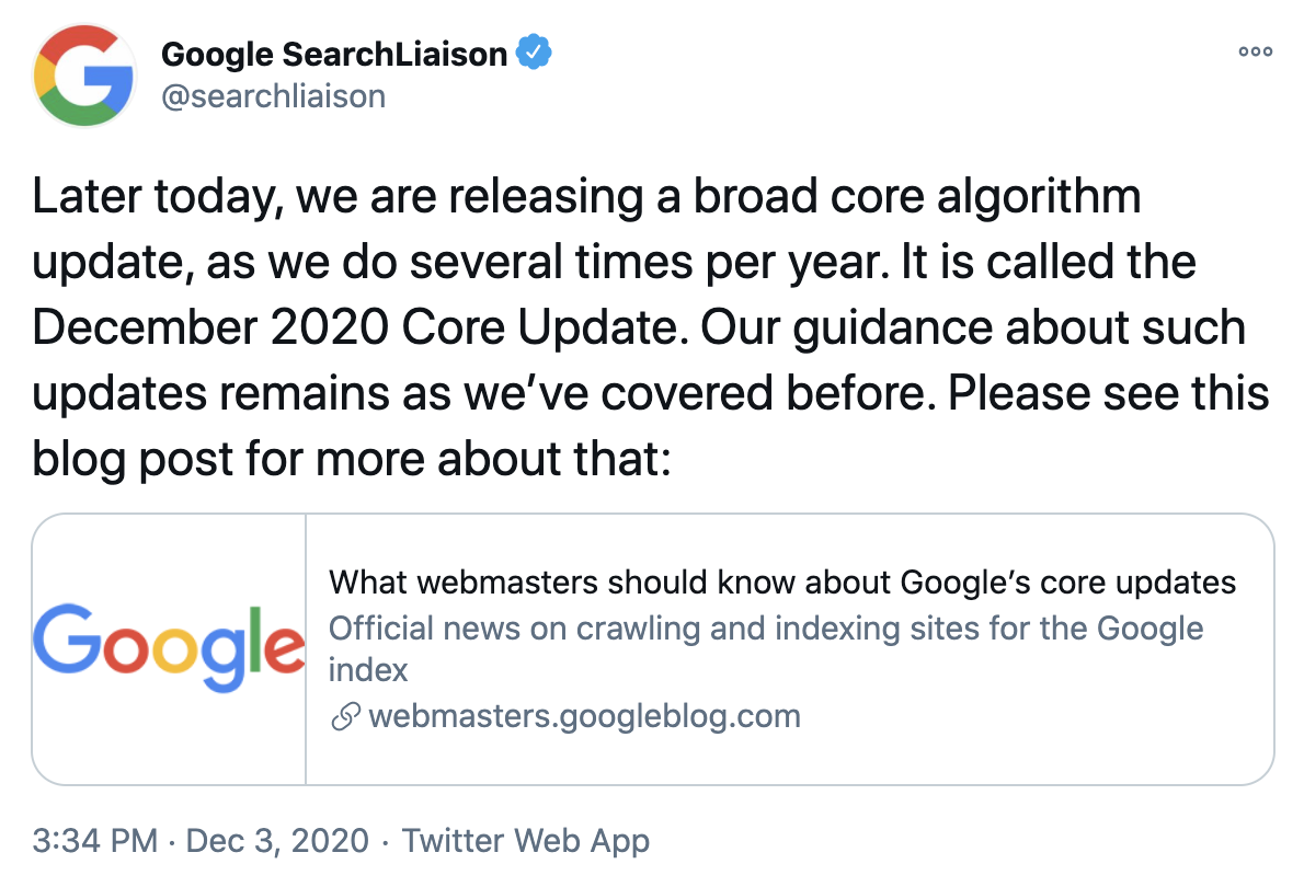 Google December 2020 Core Update